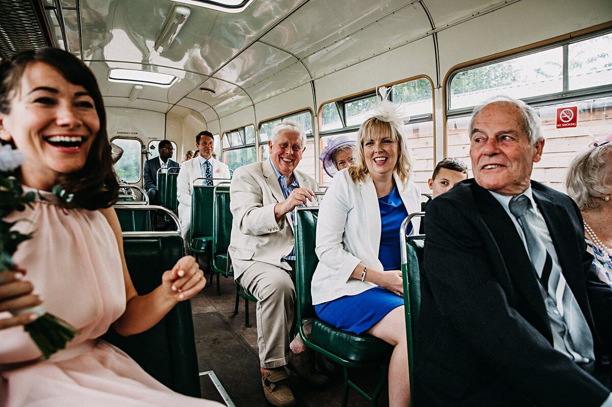 Guests on the wedding bus