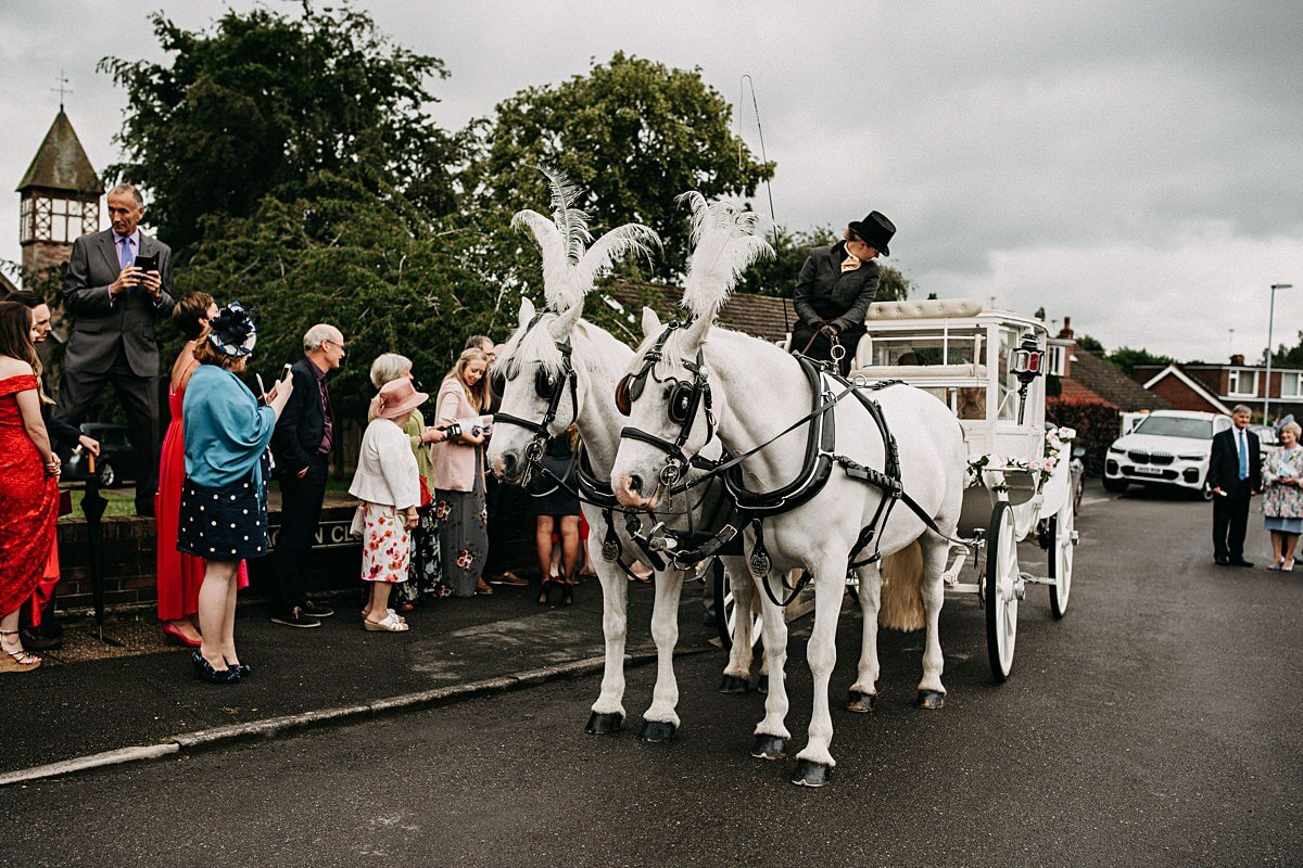 Horse drawn carriage for Staffordshire wedding