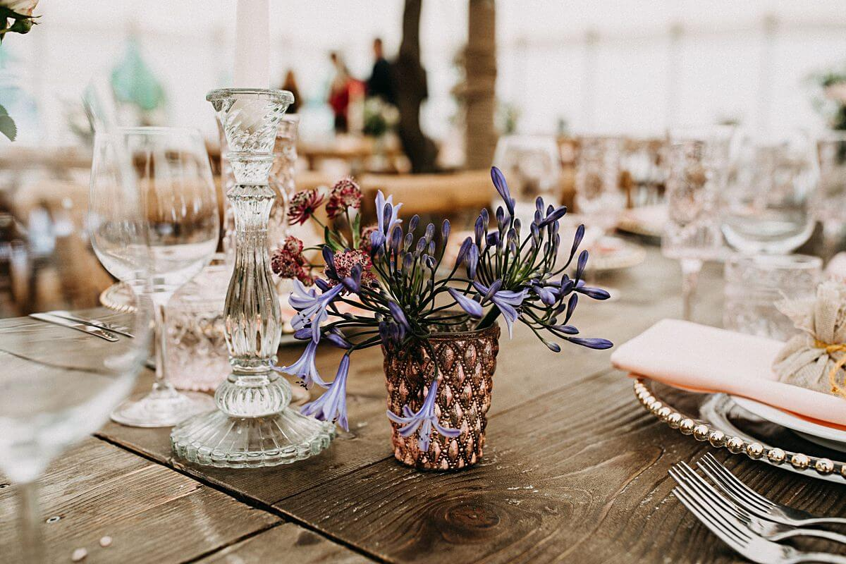 Colourful marquee wedding flowers