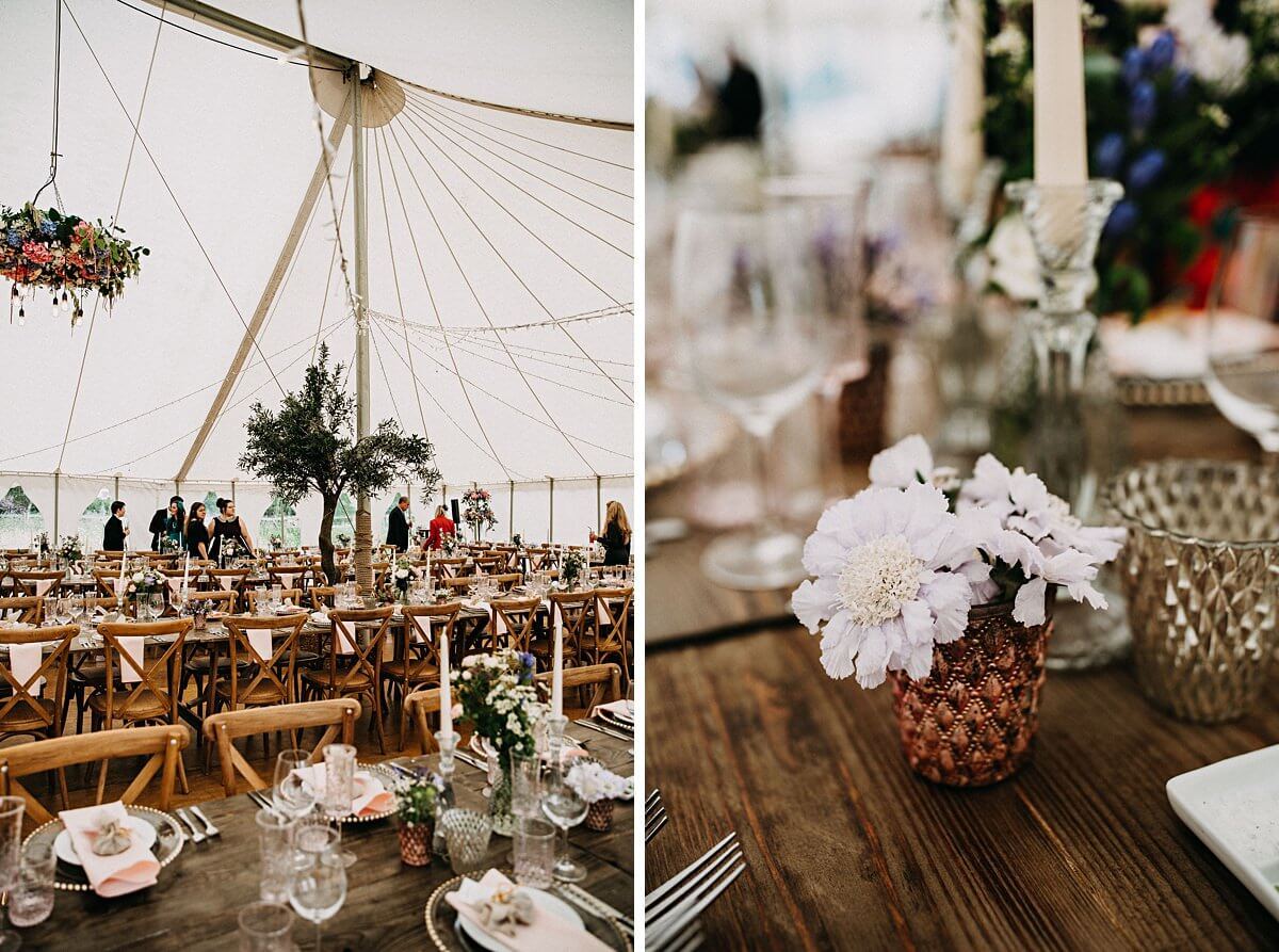 Rustic marquee wedding details