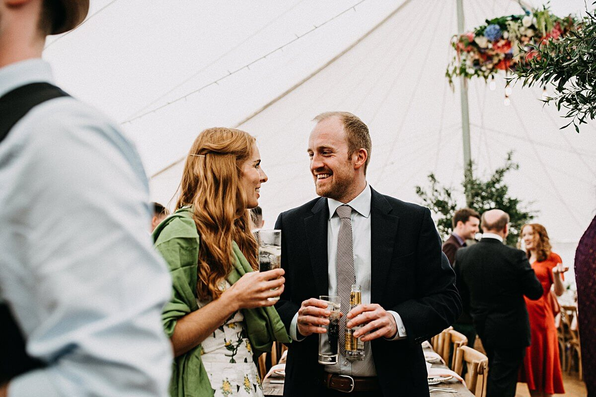 Rustic marquee wedding drinks reception