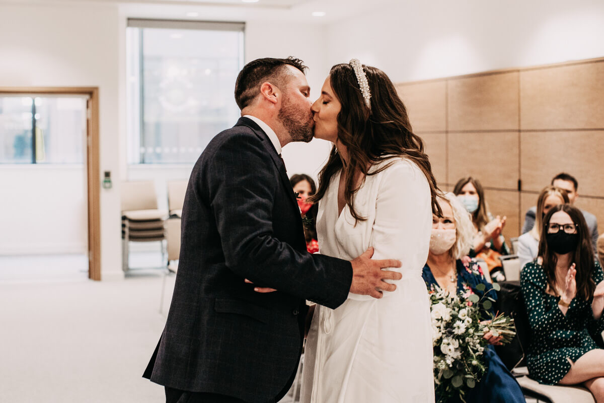 Warrington wedding ceremony first kiss