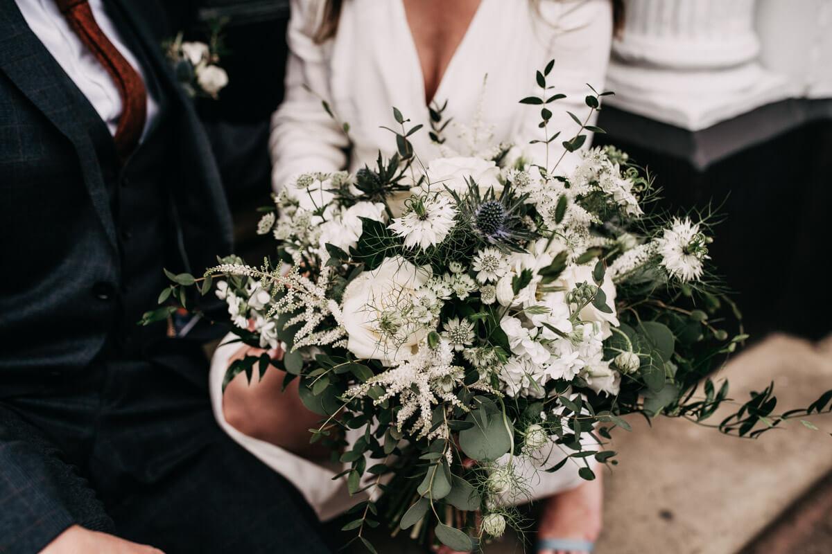 White floral wedding bouquet