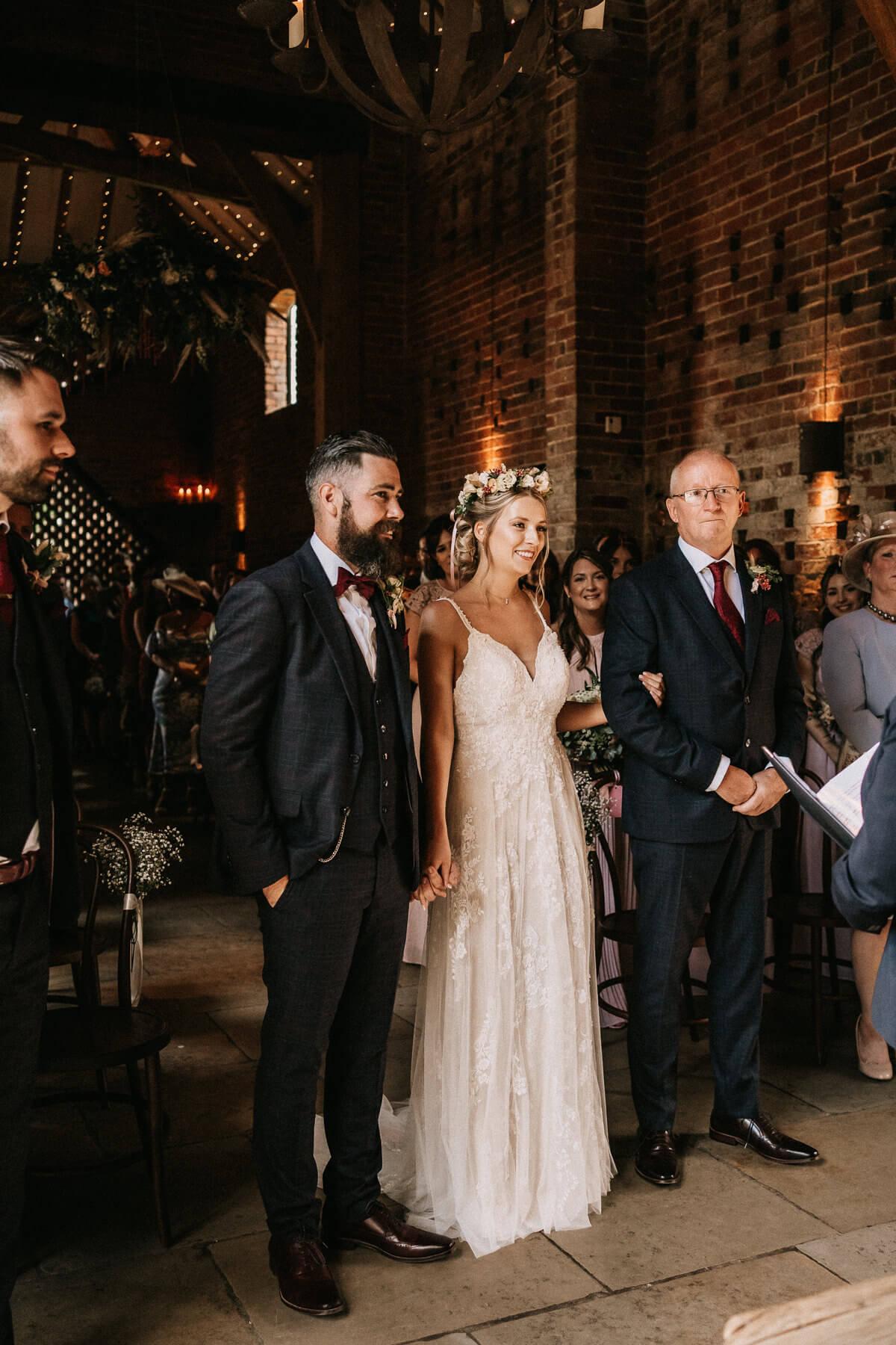 Wedding ceremony at Shustoke Farm Barn