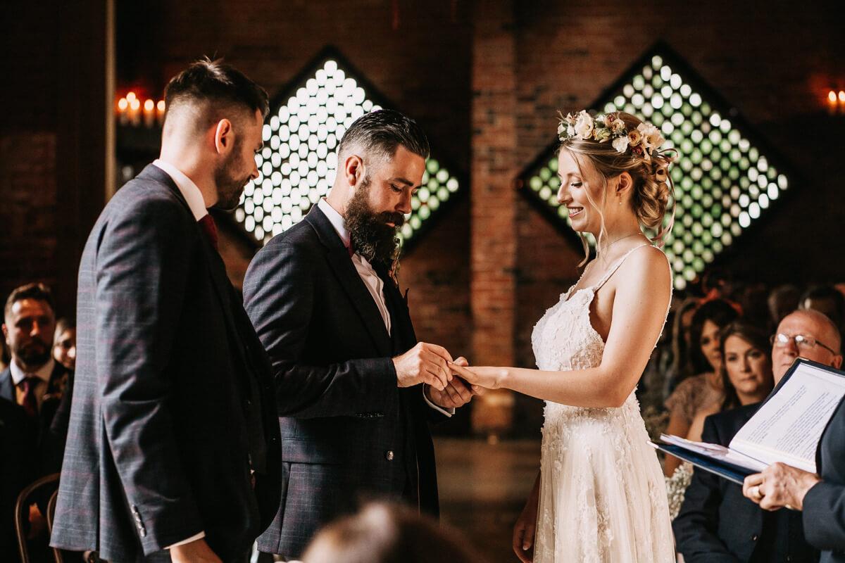 Wedding ceremony at Shustoke Barn wedding