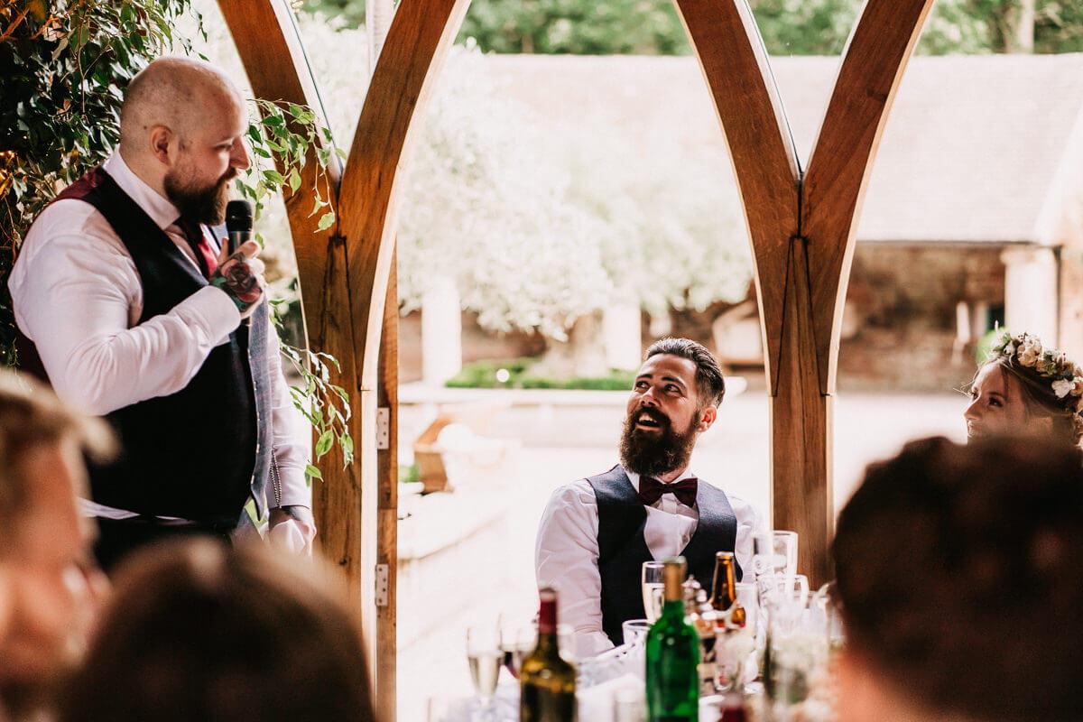 Wedding speeches at barn wedding