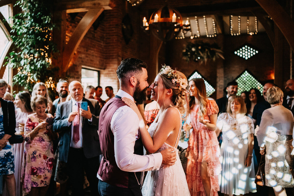 First dance at rustic barn wedding
