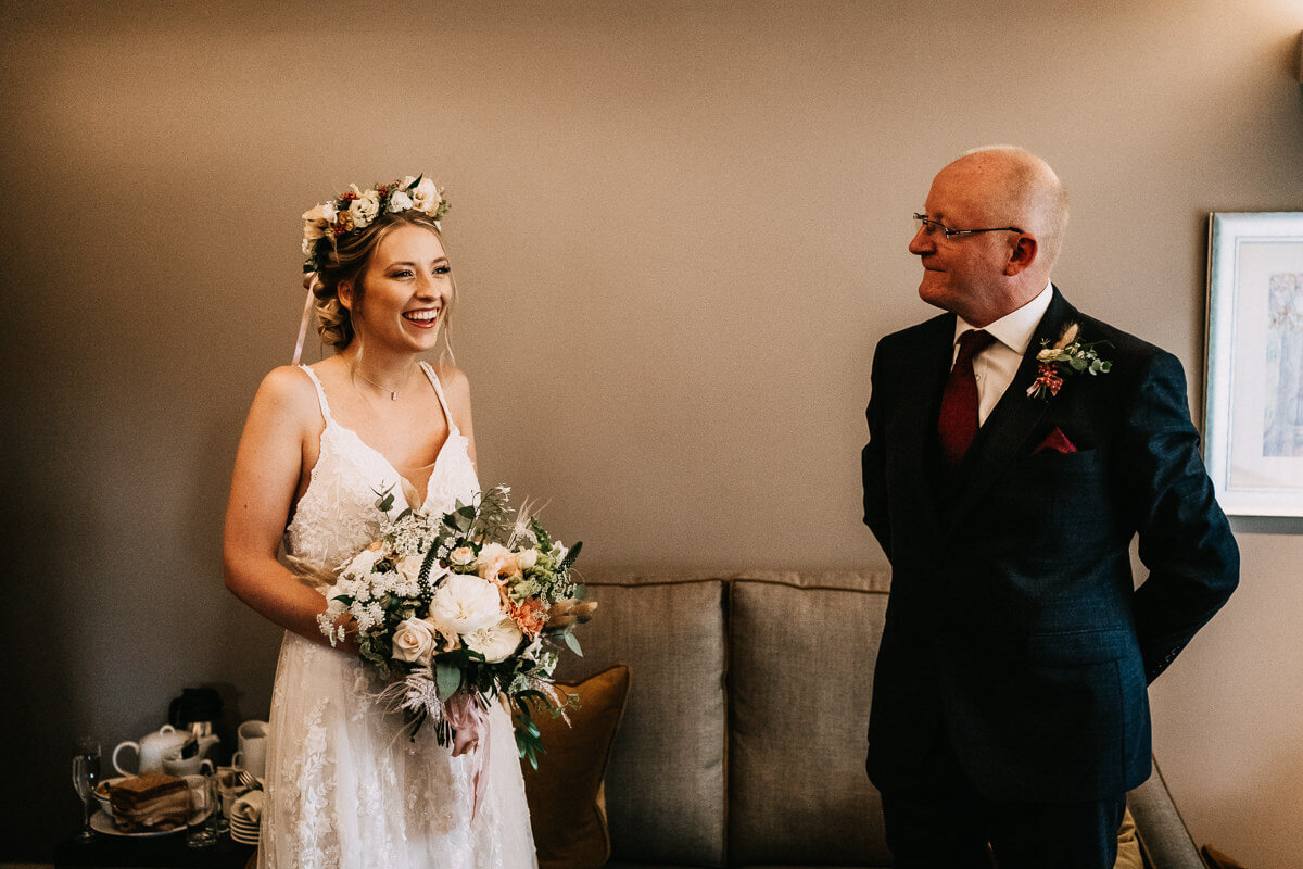 Father's first look of the bride