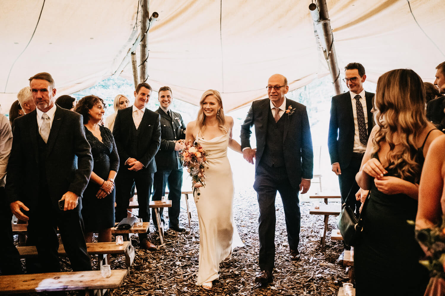 Bride arriving to the tipi ceremony