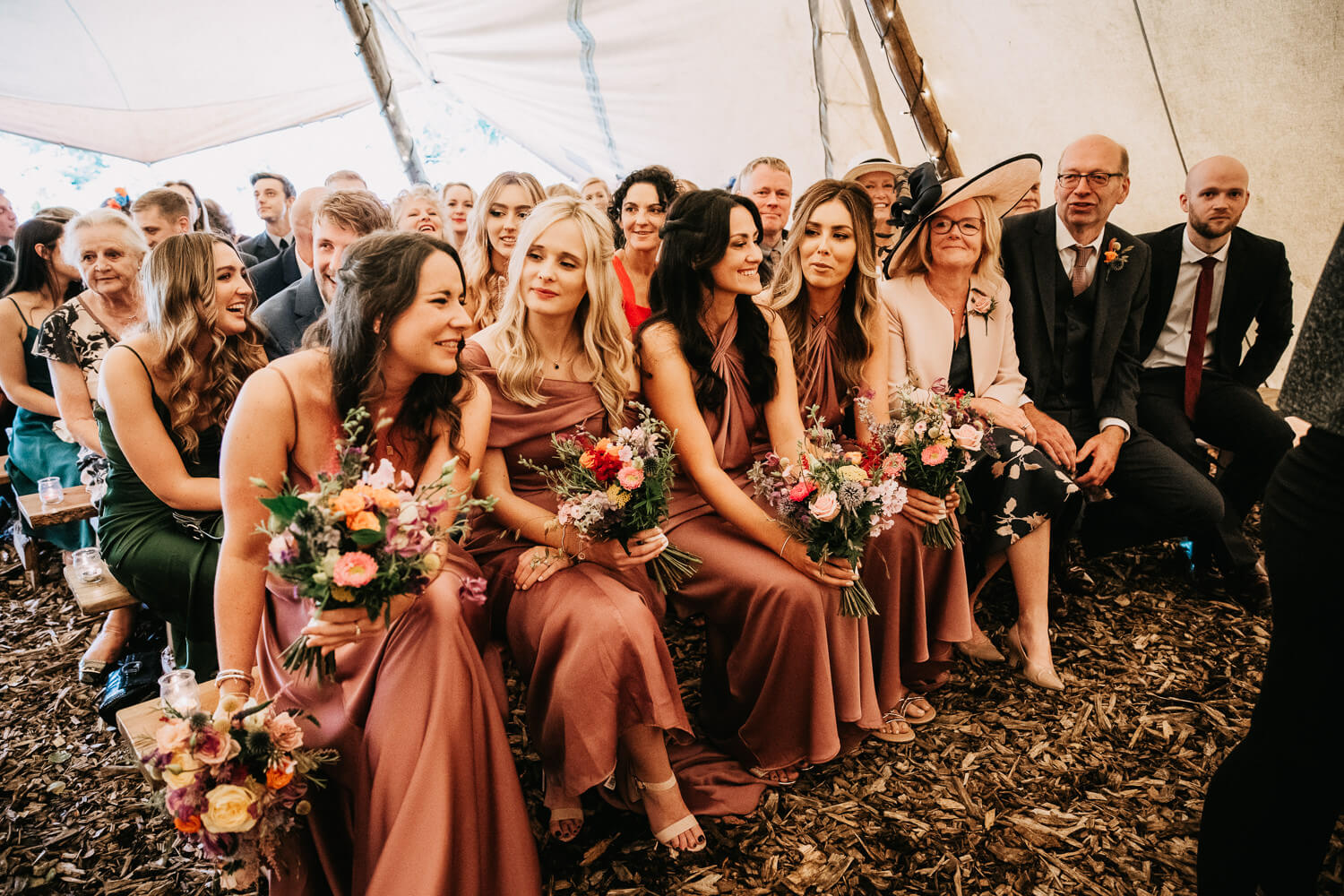 Bridesmaids at the outdoor ceremony