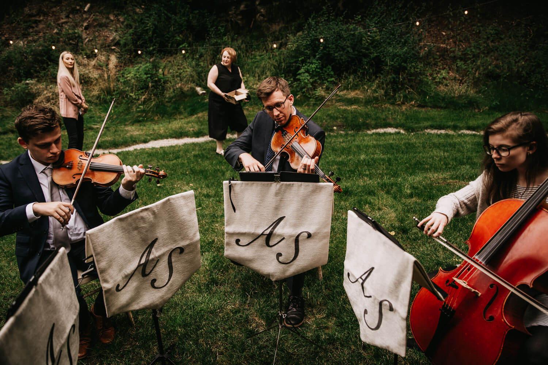Athena Strings Quartet playing at the Tipi wedding