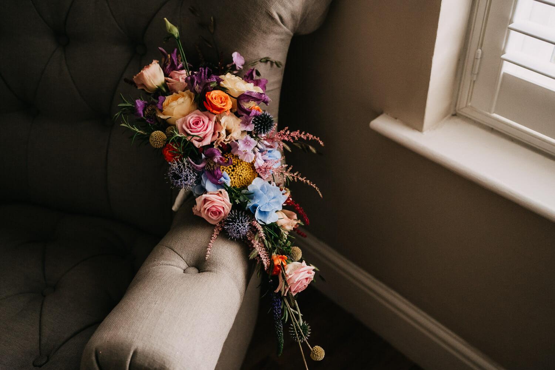 Beautiful colourful wedding bouquet