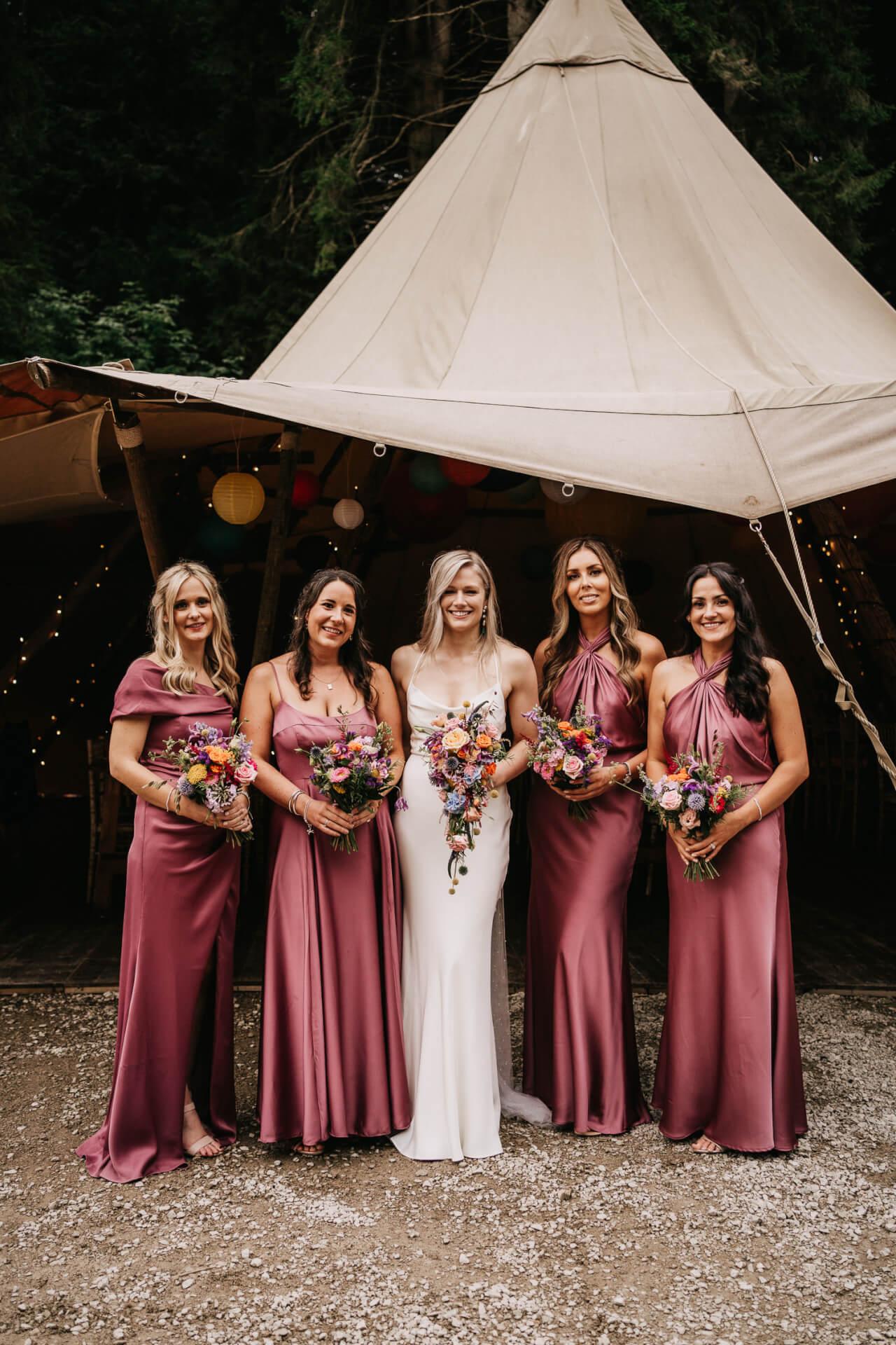 Bride and her bridesmaids at Gisburne Park wedding