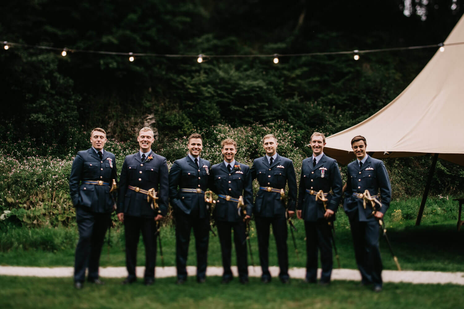 Wedding portrait of the groom and his RAF friends
