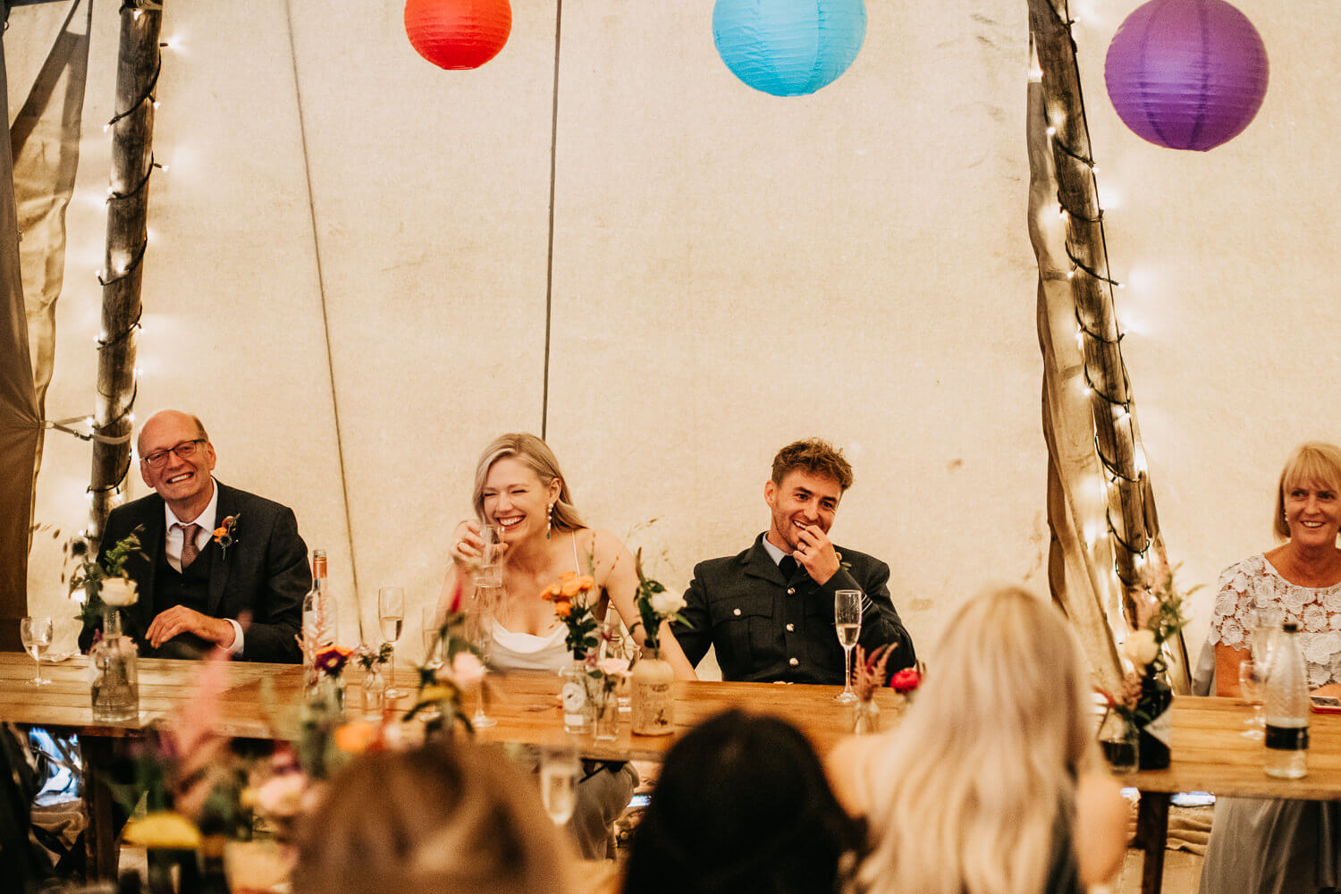 Wedding speeches in the tipi