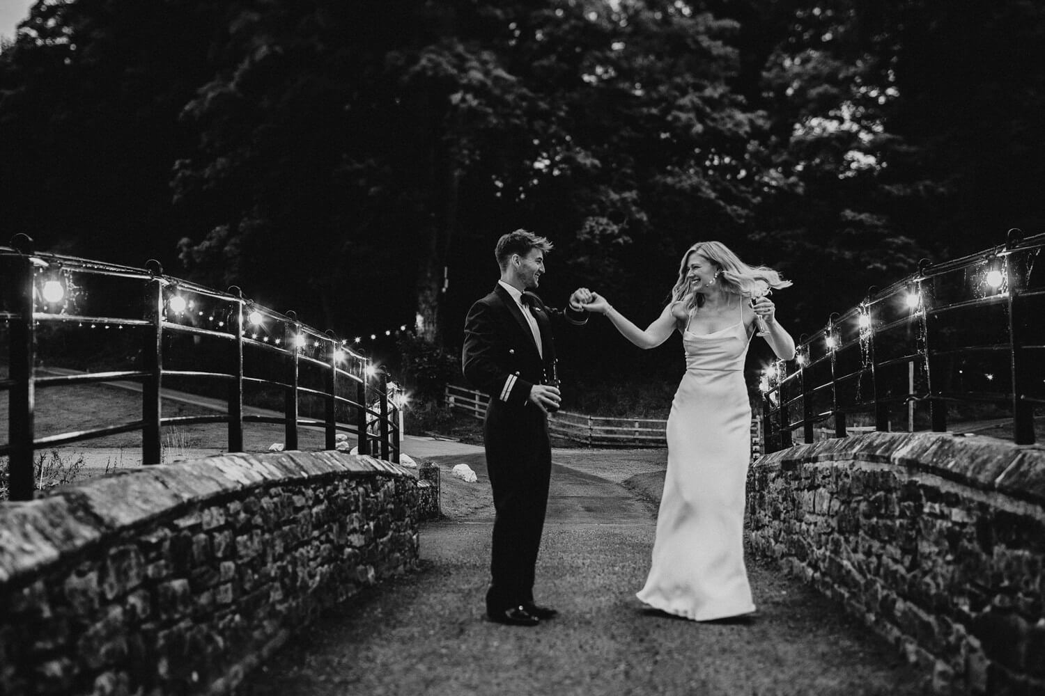 Beautiful couple dancing during their portraits